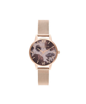 Olivia Burton Rose Quartz Rose Gold Mesh Metal Watch