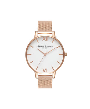 Olivia Burton White Face Rose Gold Metal Mesh Watch