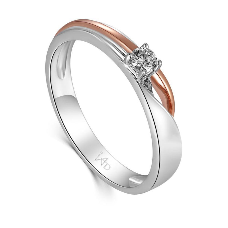 18k White & Rose Gold Ring with Diamonds (0.091ct) Ring Olivia Davenport Fine Jewels