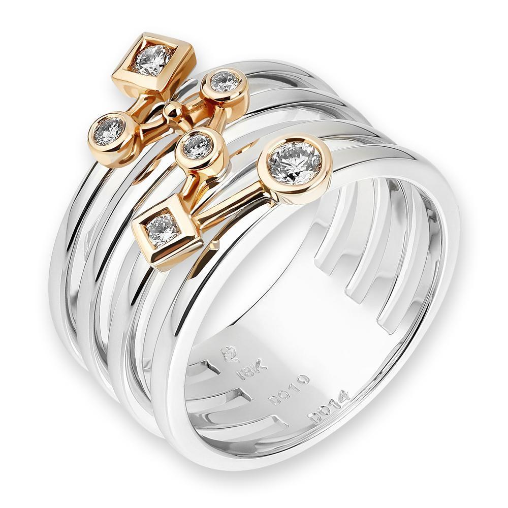 18k White & Yellow Gold Ring with 0.24ct Diamonds Ring IAD