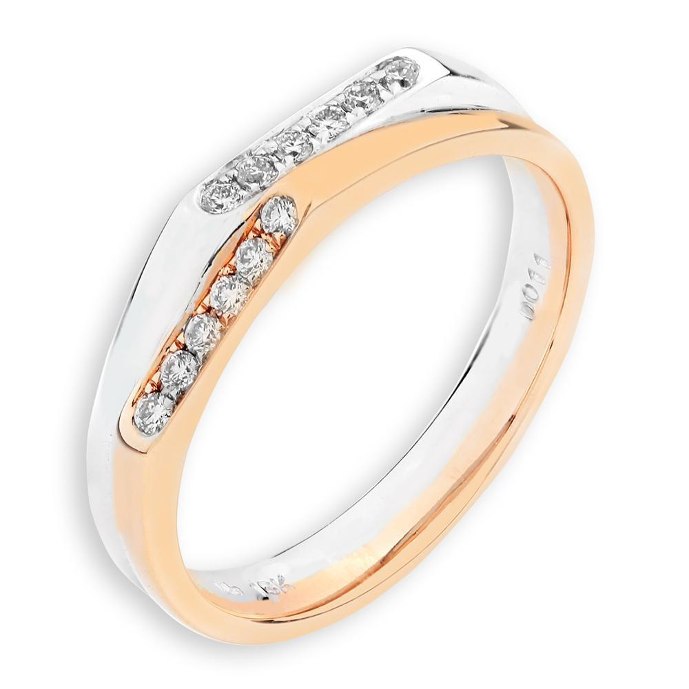 18k White & Yellow Gold Ring with Diamonds (0.103ct) Ring Olivia Davenport Fine Jewels