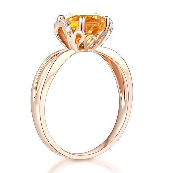 Citrine (1.8ct) Ring in 14k Rose Gold with Diamonds (0.1ct) 14K Gold Engagement Rings Oanthan