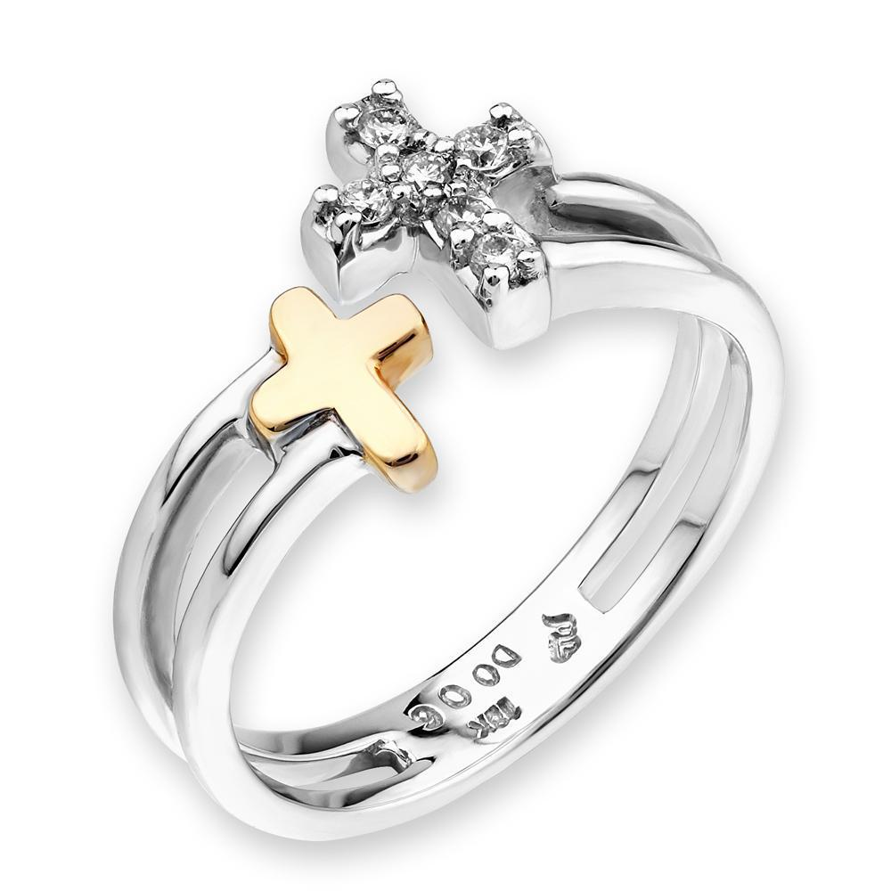 Cross Ring in 18k White & Yellow Gold with Diamonds (0.06ct) Ring IAD