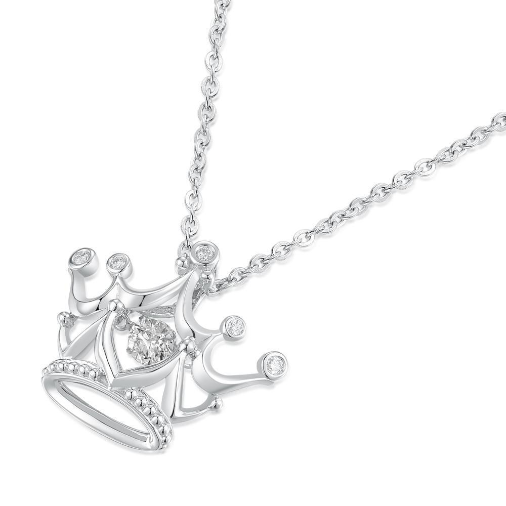 Dancing Diamonds Crown Pendant in 18k White Gold with Diamonds (0.123ct) Pendant IAD