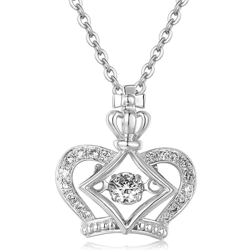Dancing Diamonds Crown Pendant in 18k White Gold with Diamonds (0.14ct) Pendant IAD