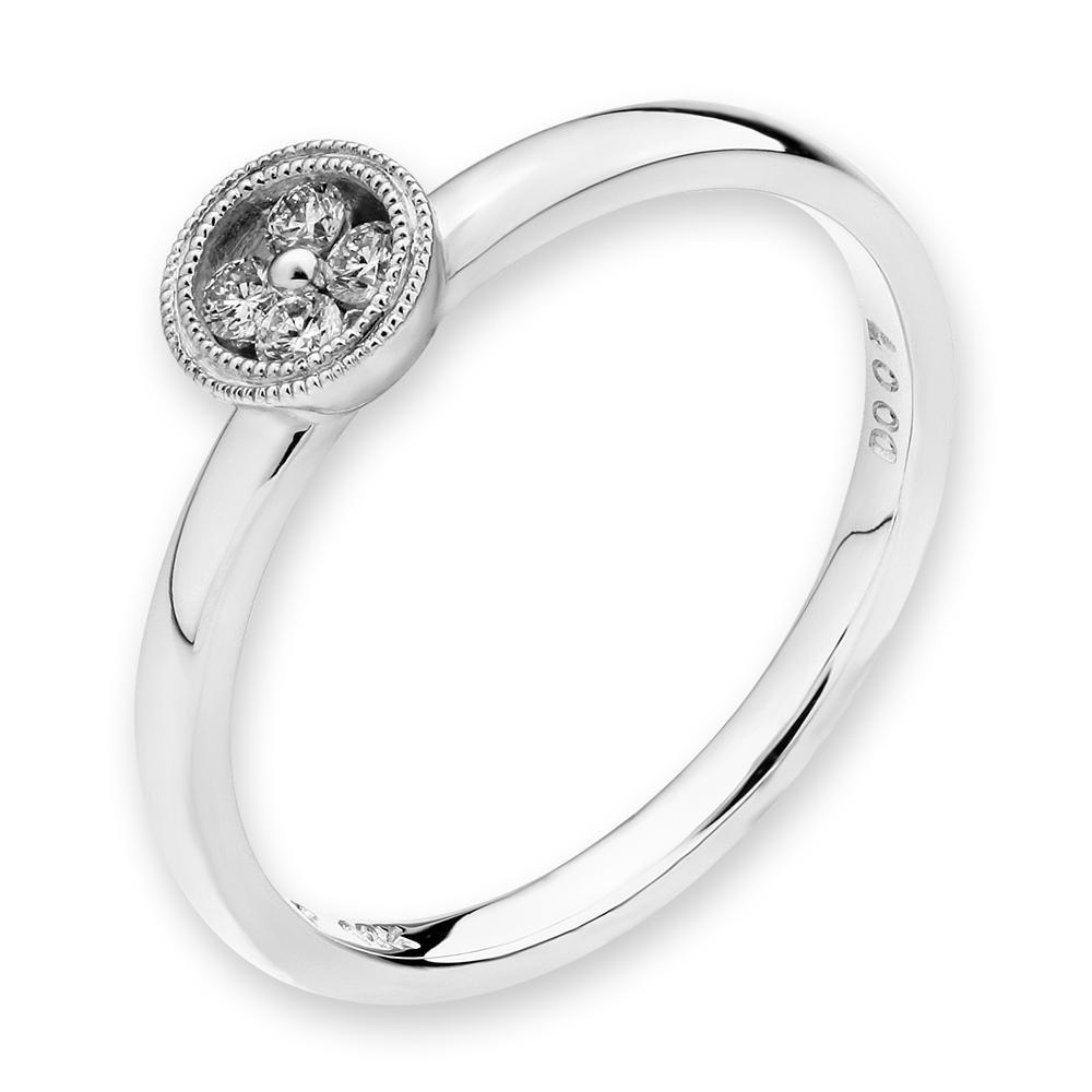 Flower Ring in 18k White Gold with Diamonds (0.073ct) Ring IAD