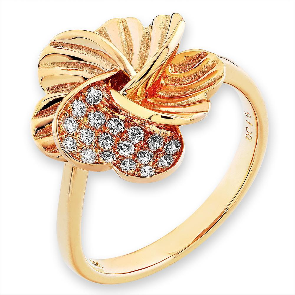Flower Ring in 18k Yellow Gold with Diamonds (0.167ct) Ring IAD