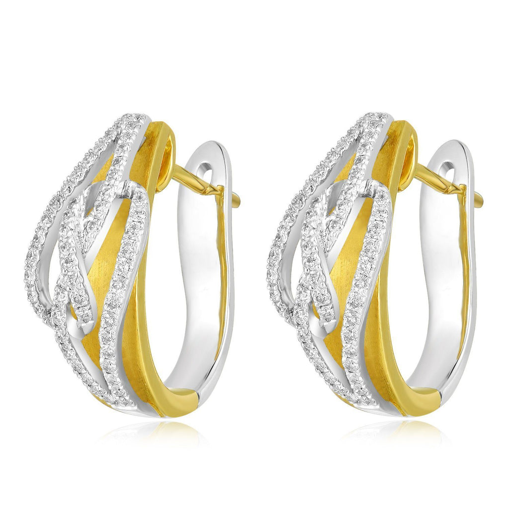 Infinite Ribbons Earrings in 18k Yellow & White Gold with Diamonds (0.384ct) Earrings IAD