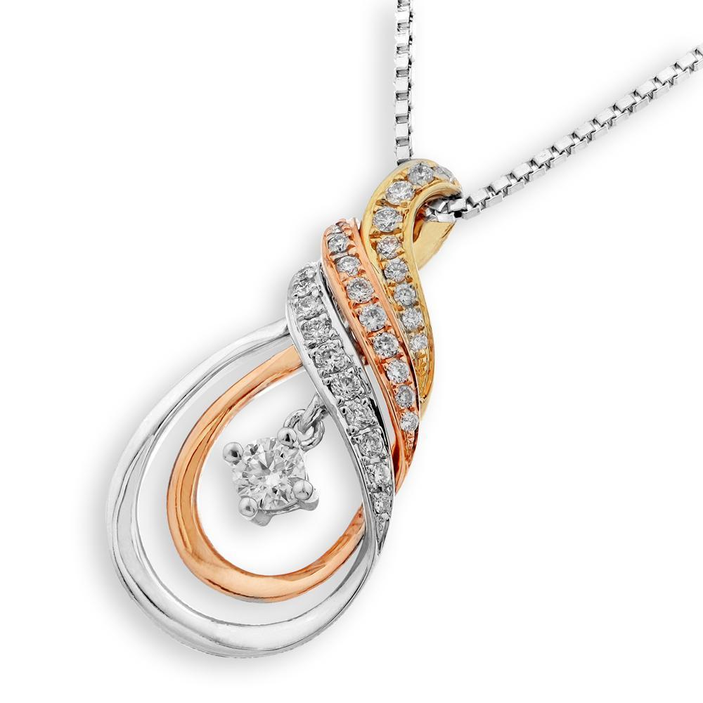 Infinite Ribbons Pendant in 18k Rose, Yellow & White Gold with Diamonds (0.242ct) Pendant IAD
