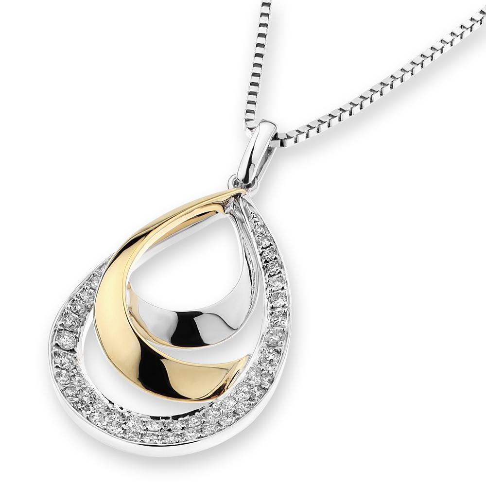 Infinite Ribbons Pendant in 18k Yellow & White Gold with Diamonds (0.165ct) Pendant IAD