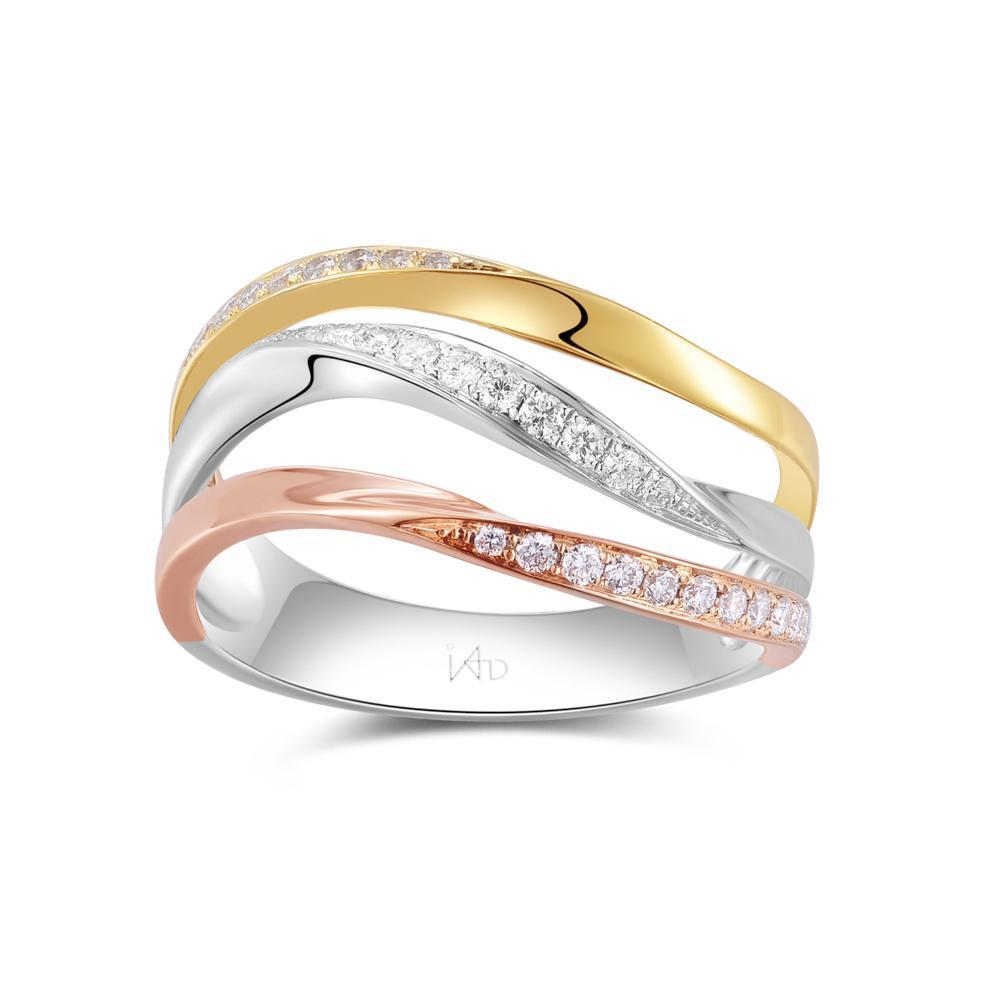Infinite Ribbons Ring in 18k Rose, Yellow & White Gold with Diamonds (0.278ct) Ring IAD