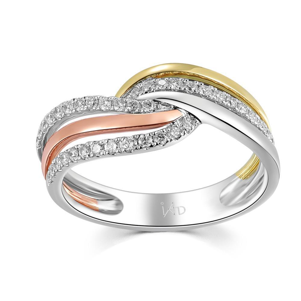Infinite Ribbons Ring in 18k Rose, Yellow & White Gold with Diamonds ( 0.298ct) Ring IAD