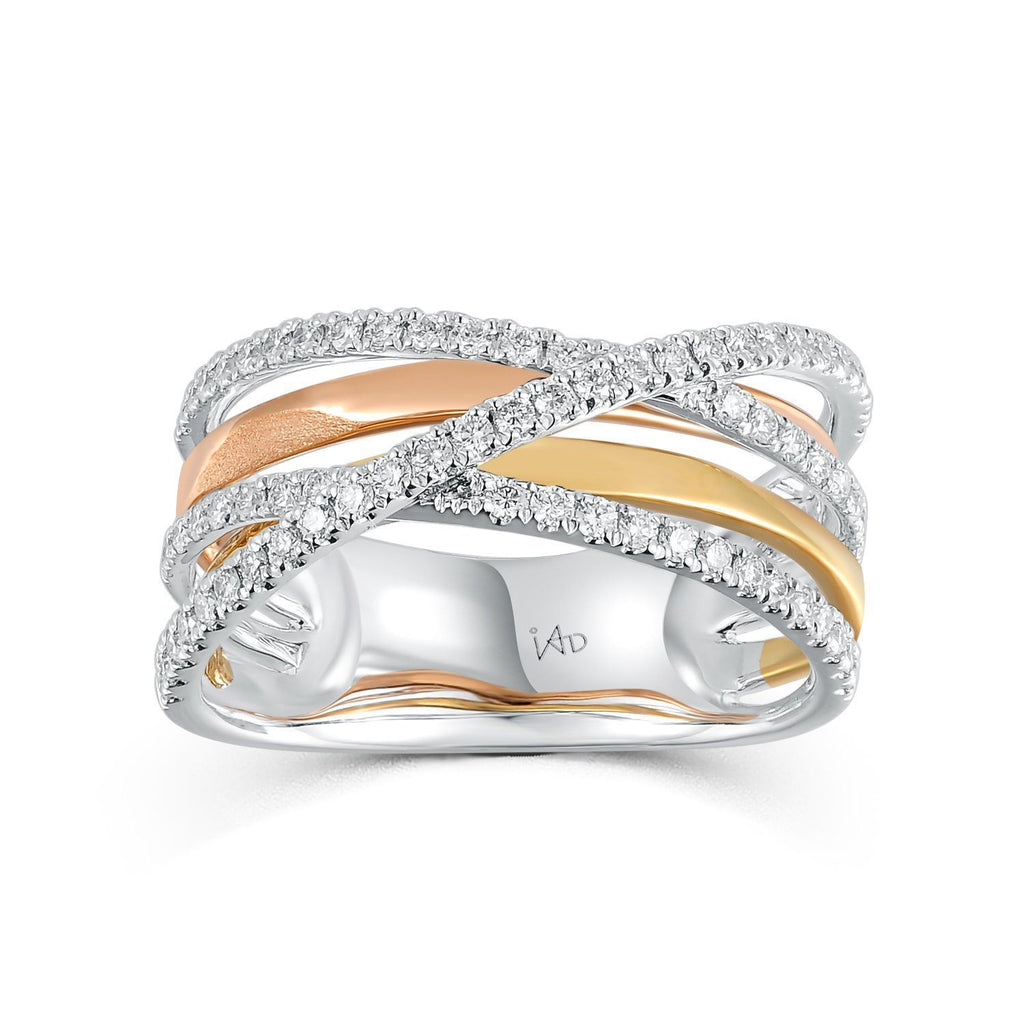 Infinite Ribbons Ring in 18k Rose, Yellow & White Gold with Diamonds (0.417ct) Ring IAD
