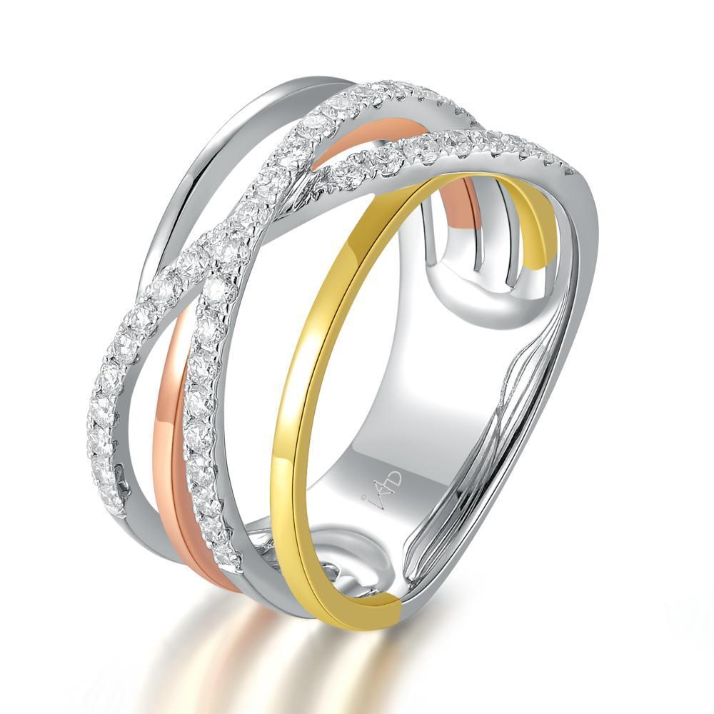 Infinite Ribbons Ring in 18k Rose, Yellow & White Gold with Diamonds (0.448ct) Ring IAD