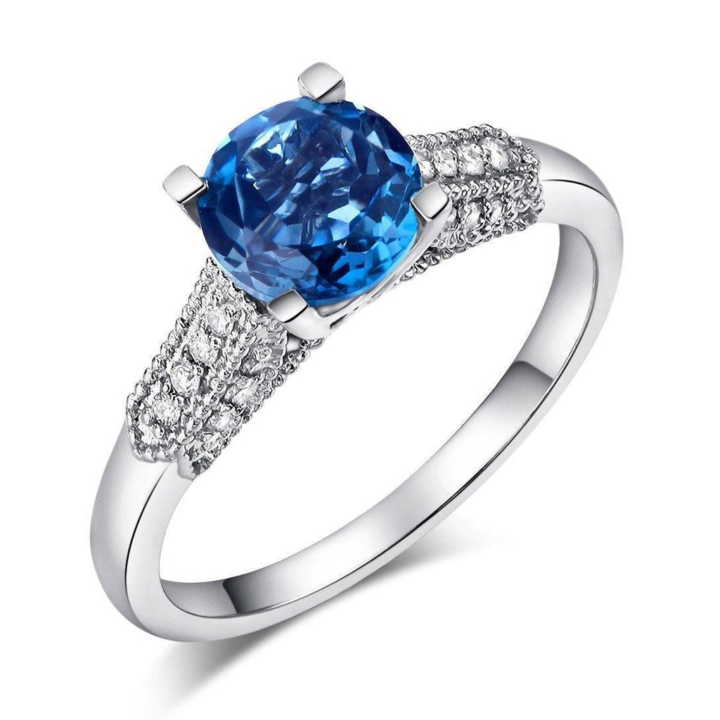London Blue Topaz (1.2ct) Ring in 14k White Gold with Diamonds (0.14ct) 14K Gold Engagement Rings Oanthan 14k White Gold US Size 4