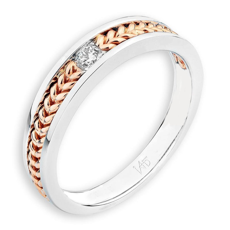 Men's Ring in 18k White & Rose Gold with Diamonds (0.083ct) Men's Ring Olivia Davenport Fine Jewels