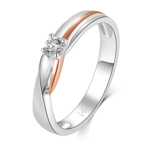 18k White & Rose Gold Ring with Diamonds (0.02ct)