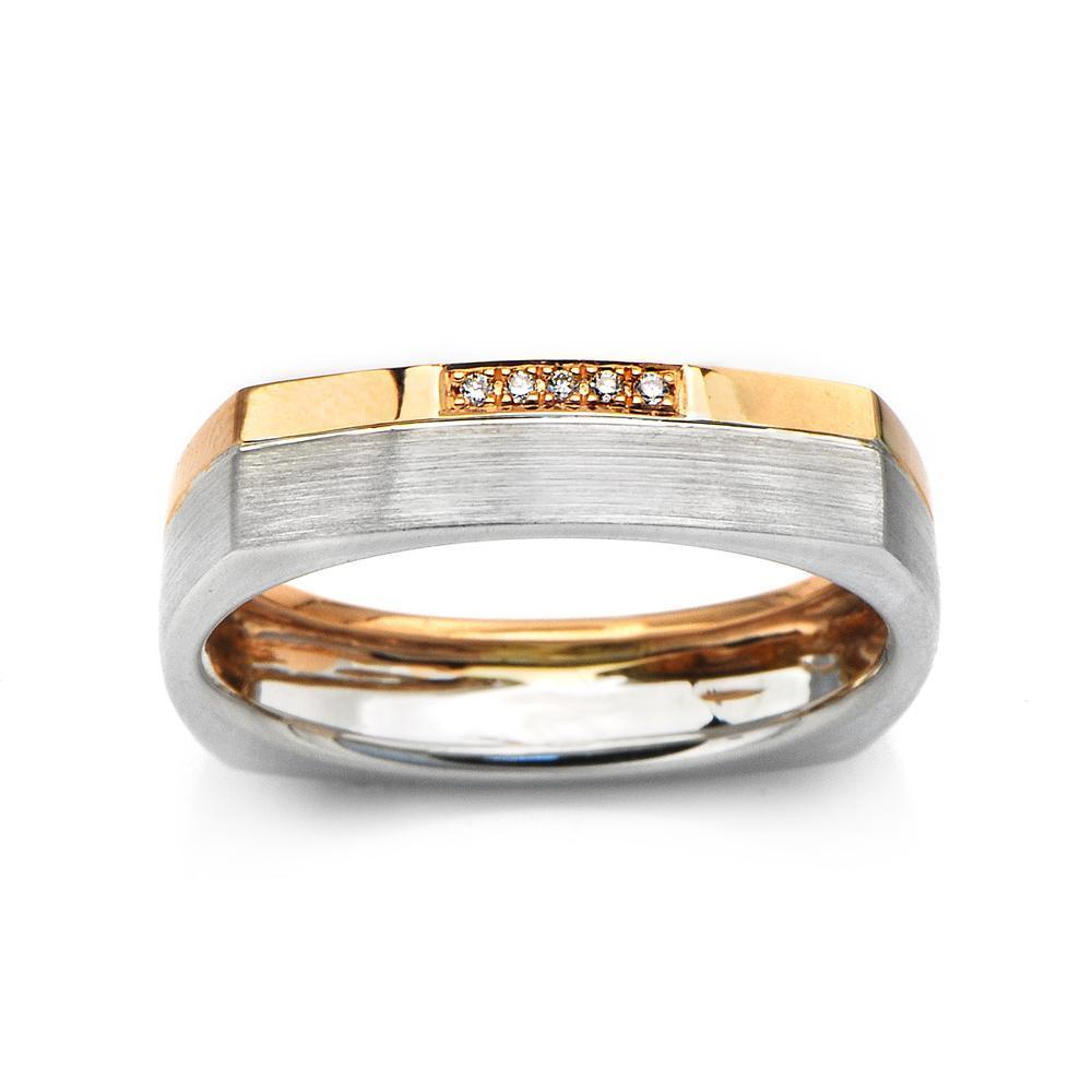Men's Ring in 18k White & Yellow Gold with Diamonds (0.014ct) Men's Ring Olivia Davenport Fine Jewels