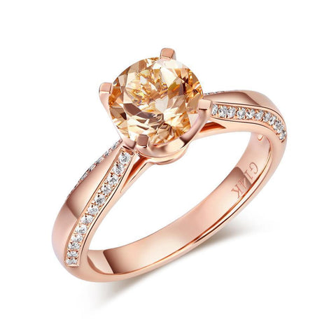 Citrine (1.8ct) Ring in 14k Rose Gold with Diamonds (0.1ct)