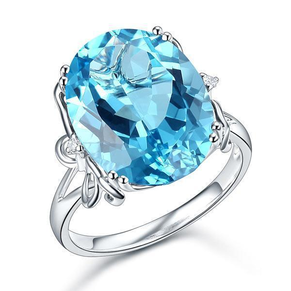 Swiss Blue Topaz (10.3ct) Ring in 14k White Gold with Diamonds (0.03ct) 14K Gold Engagement Rings Oanthan 14k White Gold US Size 4