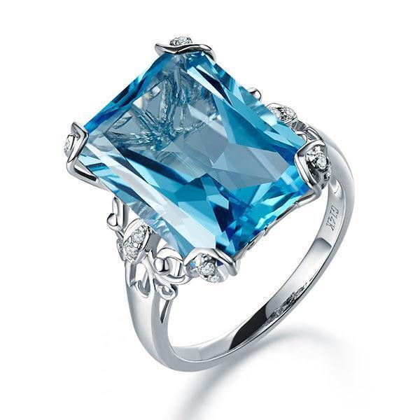 Swiss Blue Topaz (13ct) Ring in 14k White Gold with Diamonds (0.13ct) 14K Gold Engagement Rings Oanthan 14k White Gold US Size 4