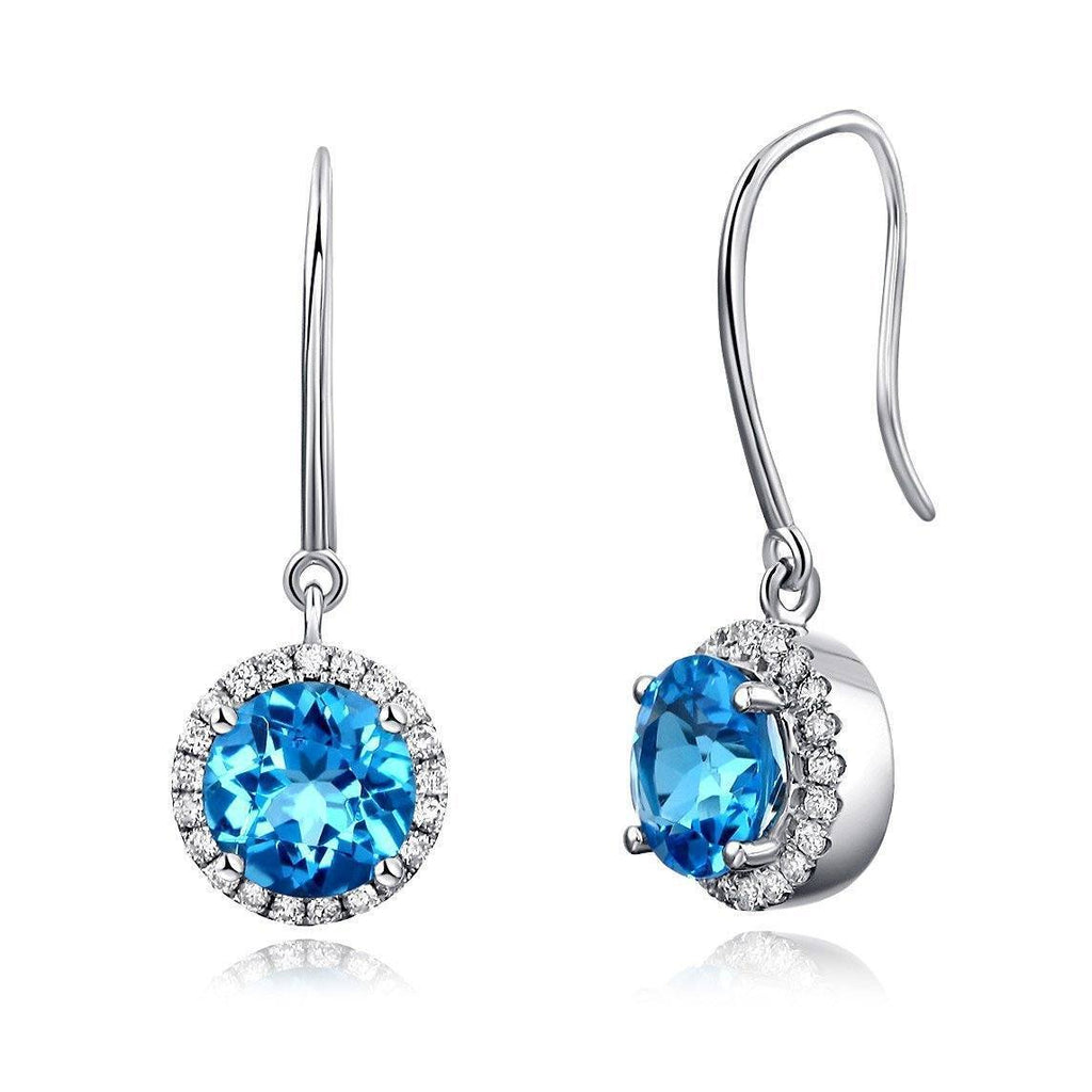 Swiss Blue Topaz ( 1.55ct) in 14k White Gold Earrings with Diamonds (0.298ct) 14K Gold Earrings Oanthan