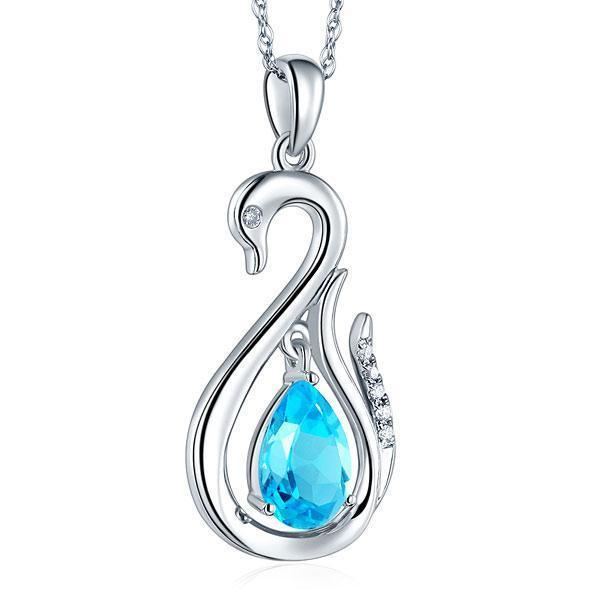 Swiss Blue Topaz (2.5ct) Swan Pendant in 14k White Gold with Diamonds (0.06ct) 14K Gold Pendants Oanthan