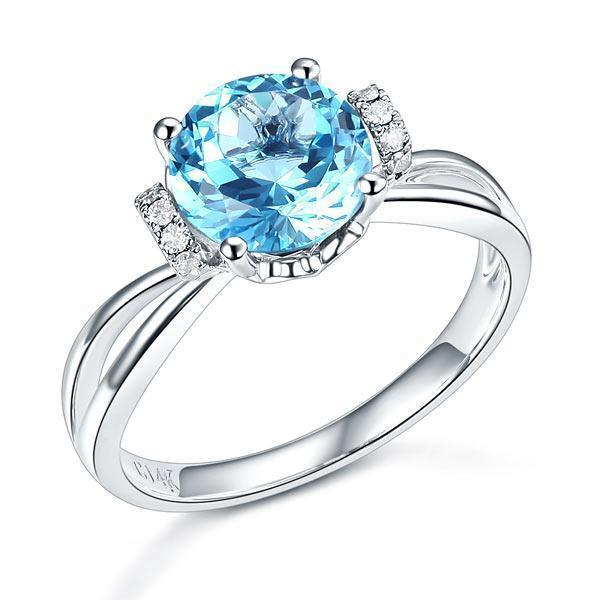 Swiss Blue Topaz (2ct) Ring in 14k White Gold with Diamonds (0.1ct) 14K Gold Engagement Rings Oanthan 14k White Gold US Size 4
