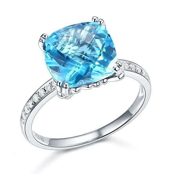 Swiss Blue Topaz (4.5ct) Ring in 14k White Gold with Diamonds (0.1ct) 14K Gold Engagement Rings Oanthan 14k White Gold US Size 4