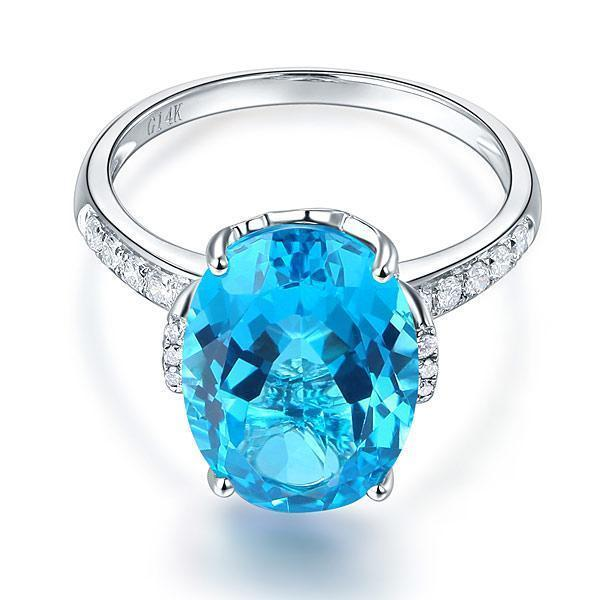 Swiss Blue Topaz ( 6.5ct) Ring in 14k White Gold with Diamonds (0.04ct) 14K Gold Engagement Rings Oanthan