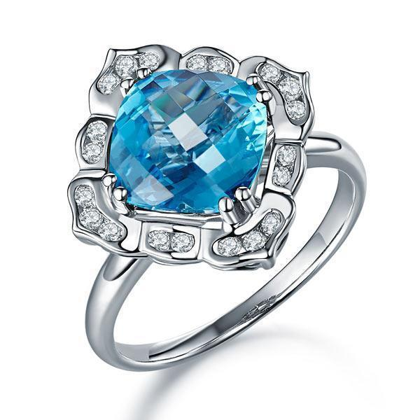 Swiss Blue Topaz Art-Deco (3ct) Ring in 14k White Gold with Diamonds (0.17ct) 14K Gold Engagement Rings Oanthan 14k White Gold US Size 4