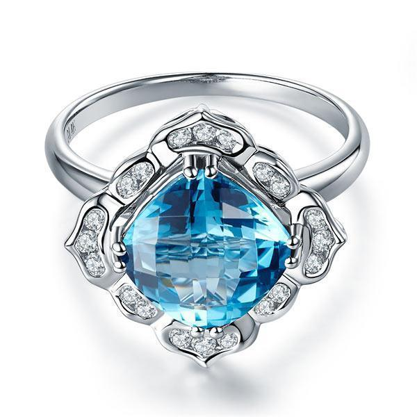 Swiss Blue Topaz Art-Deco (3ct) Ring in 14k White Gold with Diamonds (0.17ct) 14K Gold Engagement Rings Oanthan