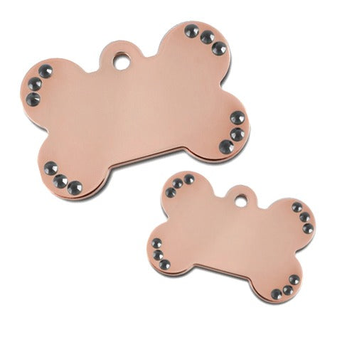Diva Bone Pet ID Tag: Black Bling Rose Gold