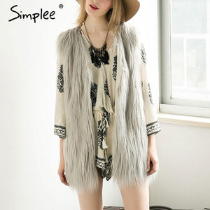 Simplee Fluffy black faux fur vest waistcoat Autumn winter sleeveless outerwear women coats Soft white hairy overcoat