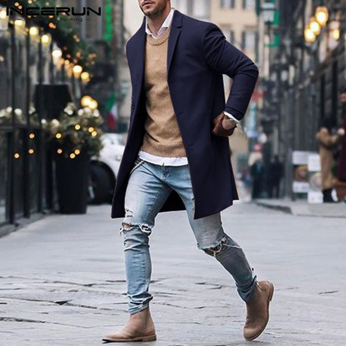 British Style Men's Long Jackets Coats Trench Classic Jackets Solid Slim Fit Outwear Hombre Fashion Winter Men Clothes Overcoat