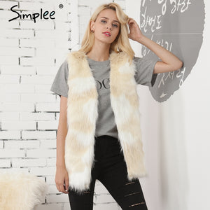 Simplee Warm furry faux fur vest women Chic fake fur vest female fluffy winter coat Streetwear natural fur white overcoat 2017