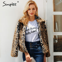 Load image into Gallery viewer, Simplee Leopard fluffy faux fur coat women 2018 plus size Elegant thick warm outwear coat Autumn winter casual overcoat