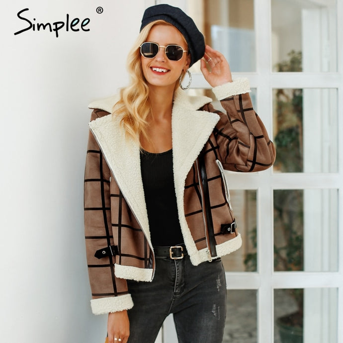 Simplee Fashion plaid lamb fur jacket coat women Faux winter jacket turn-down 2018 Autumn coat female Casual zipper overcoat