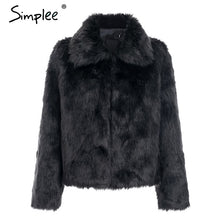 Load image into Gallery viewer, Simplee Elegant faux fur women coat Winter warm thick plush fur outwear Female hairy furry party crop Christmas coat plus size