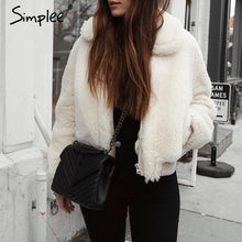 Load image into Gallery viewer, Simplee Elegant Furry faux fur women jacket coat Winter warm thick fluffy solid coat Casual high street Christmas outwear coat