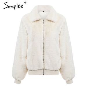 Simplee Elegant Furry faux fur women jacket coat Winter warm thick fluffy solid coat Casual high street Christmas outwear coat