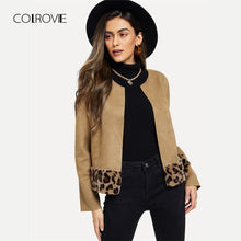 Load image into Gallery viewer, COLROVIE Khaki Leopard Print Elegant Cardigan Faux Fur Jacket Coat Women Clothes 2018 Autumn Vintage Office Ladies Outerwear