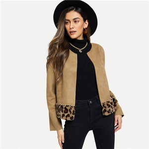 COLROVIE Khaki Leopard Print Elegant Cardigan Faux Fur Jacket Coat Women Clothes 2018 Autumn Vintage Office Ladies Outerwear