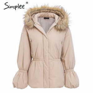 Simplee Elegant hooded jacket coat women winter Fur collar puff sleeve female jacket down Casual christmas thick fur parka wear