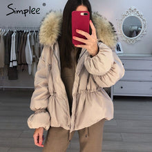Load image into Gallery viewer, Simplee Elegant hooded jacket coat women winter Fur collar puff sleeve female jacket down Casual christmas thick fur parka wear