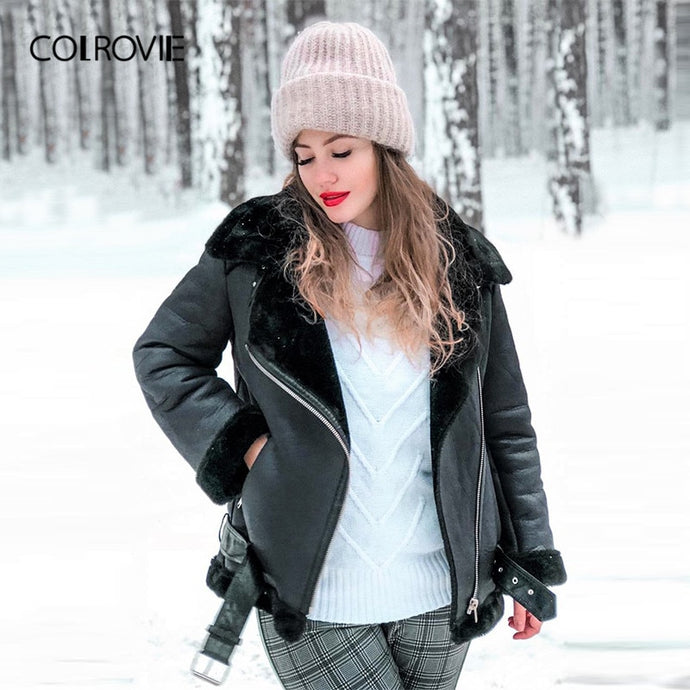 COLROVIE Black Zipper Pocket Biker Belted Faux Fur PU Leather Jacket Coat Women 2019 Streetwear Warm Ladies Jackets Outerwear