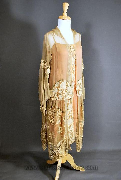 1920s Tea Gown Dress - Flapper Gatsby Era - Lace and Silk