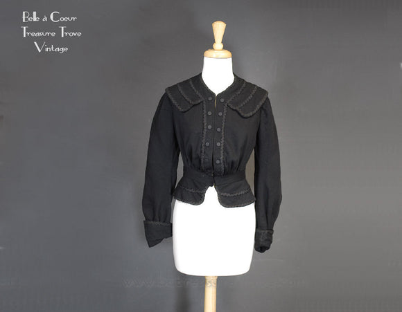 Antique Black Wool Victorian Jacket XXS