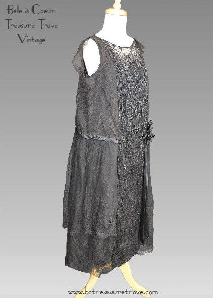 Antique Beaded 1920s Evening Dress Jet Black Beads, Silk, and Lace Flapper Dress