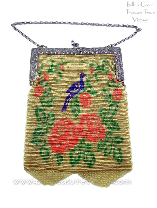 Beaded Flapper Purse Bluebird and Rose Design